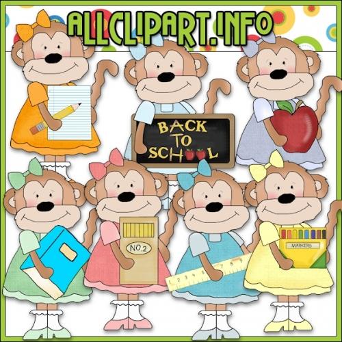 """School Girls Monkeys Clip Art - alt=""""School Girls Monkeys Clip Art - $1.00"""" .00"""