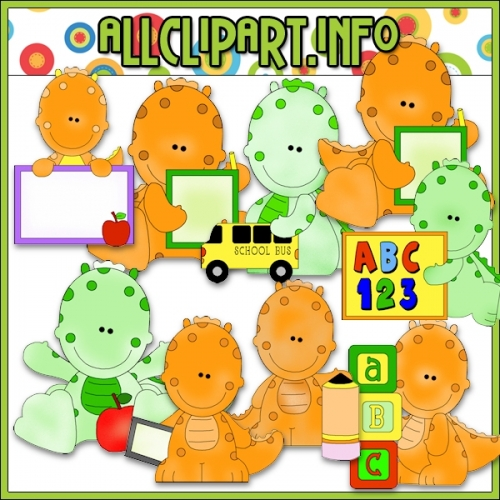 "Little School Dinos Clip Art - alt=""Little School Dinos Clip Art - $1.00"" .00"