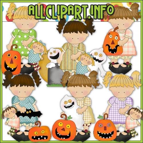 """Halloween Girls Clip Art - alt=""""Halloween Girls Clip Art - $1.00"""" .00"""