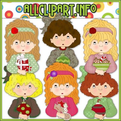 "Armful Girls Christmas Clip Art - alt=""Armful Girls Christmas Clip Art - $1.00"" .00"