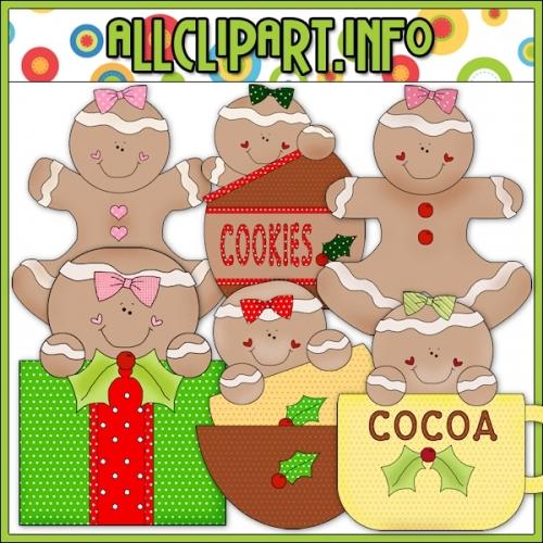 """Christmas Gingers 3 Clip Art - alt=""""Christmas Gingers 3 Clip Art - $1.00"""" .00"""