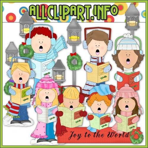 "Joy To The World Carolers Clip Art - alt=""Joy To The World Carolers Clip Art - $1.00"" .00"