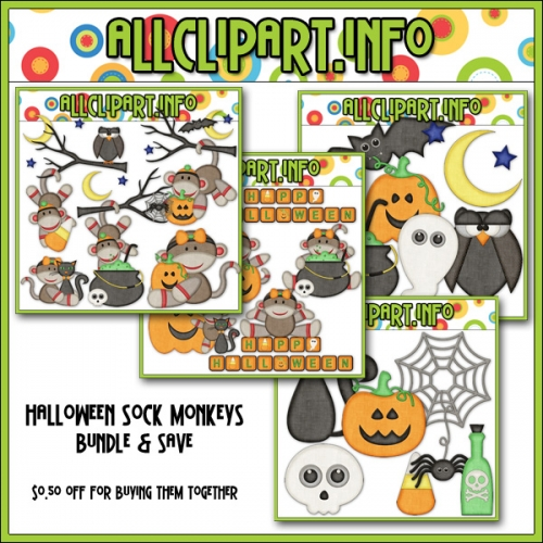 "Halloween Sock Monkeys Clip Art Bundle - "".50"