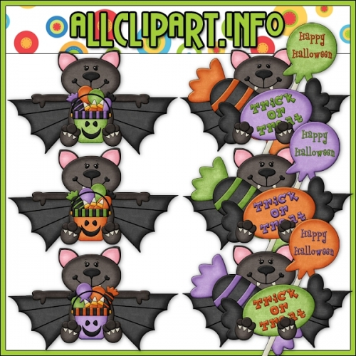 "Trick Or Treat Bats Clip Art - alt=""Trick Or Treat Bats Clip Art - $1.00"" .00"