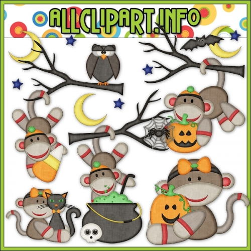 "Halloween Sock Monkeys 1 Clip Art - alt=""Halloween Sock Monkeys 1 Clip Art - $1.00"" .00"