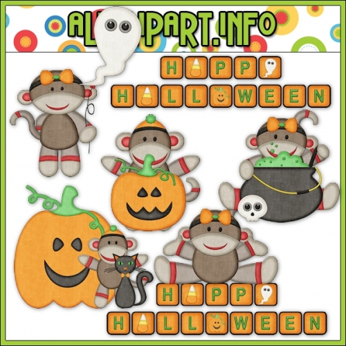 "Halloween Sock Monkeys 2 Clip Art - alt=""Halloween Sock Monkeys 2 Clip Art - $1.00"" .00"