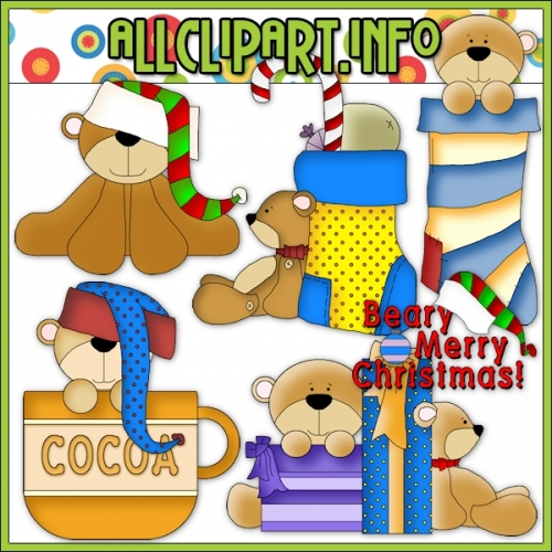 """Beary Merry Christmas Clip Art - alt=""""Beary Merry Christmas Clip Art - $1.00"""" .00"""
