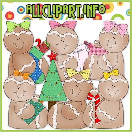 """Christmas Gingers 1 Clip Art - alt=""""Christmas Gingers 1 Clip Art - $1.00"""" .00"""