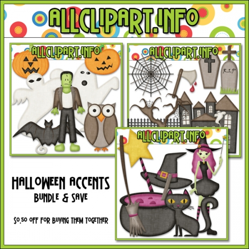 "Halloween Accents Clip Art Bundle - "".50"