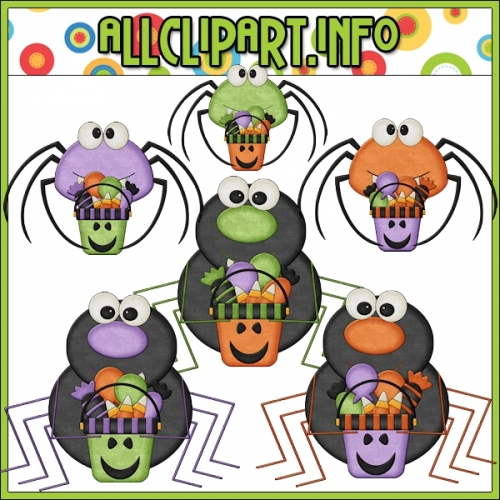 "Trick Or Treat Spiders Clip Art - alt=""Trick Or Treat Spiders Clip Art - $1.00"" .00"