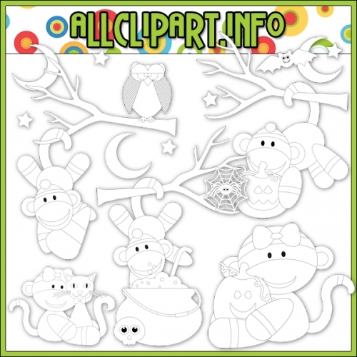 "Halloween Sock Monkeys 1 Digital Stamps - alt=""Halloween Sock Monkeys 1 Digital Stamps - $1.00"" .00"