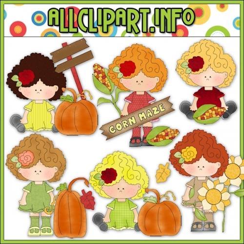 "Happy Fall Girls Clip Art - alt=""Happy Fall Girls Clip Art - $1.00"" .00"