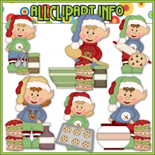 "Sweater Elf Bakes Cookies Cutting File & Clip Art - alt=""Sweater Elf Bakes Cookies Cutting File & Clip Art - $1.00"" .00"