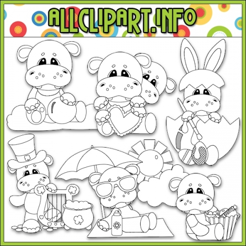"Calendar Tid Bits Hippos 1 Digital Stamps - alt=""Calendar Tid Bits Hippos 1 Digital Stamps - $1.00"" .00"