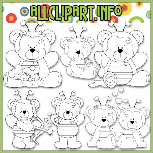 "Bumble Bee Mine Bears Digital Stamps - alt=""Bumble Bee Mine Bears Digital Stamps - $1.00"" .00"