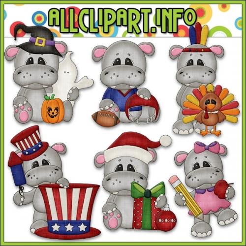 """Calendar Tid Bits Hippos 2 Clip Art - alt=""""Calendar Tid Bits Hippos 2 Clip Art - $1.00"""" .00"""
