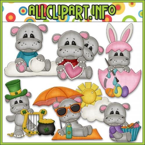 """Calendar Tid Bits Hippos 1 Clip Art - alt=""""Calendar Tid Bits Hippos 1 Clip Art - $1.00"""" .00"""
