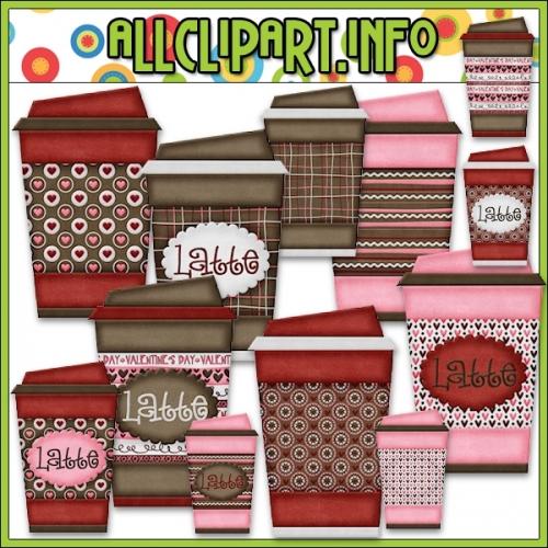 """Love U A Latte To Go Cups Clip Art - alt=""""Love U A Latte To Go Cups Clip Art - $1.00"""" .00"""