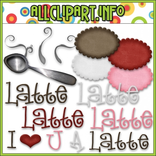 "Love U A Latte Accents Clip Art - alt=""Love U A Latte Accents Clip Art - $1.00"" .00"