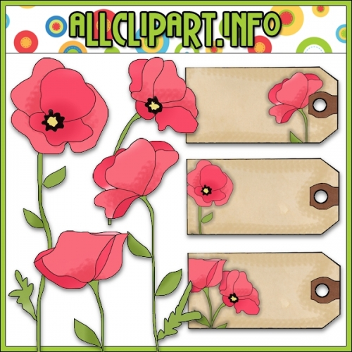 "Pink Poppies Clip Art & Hang Tags - alt=""Pink Poppies Clip Art & Hang Tags - $1.00"" .00"