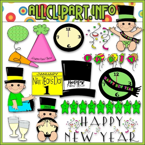 "Button Eyed Babies New Year Celebration Clip Art - alt=""Button Eyed Babies New Year Celebration Clip Art - $1.00"" .00"