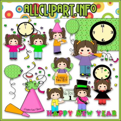 "Button Eyed Girls New Year Celebration Clip Art - alt=""Button Eyed Girls New Year Celebration Clip Art - $1.00"" .00"