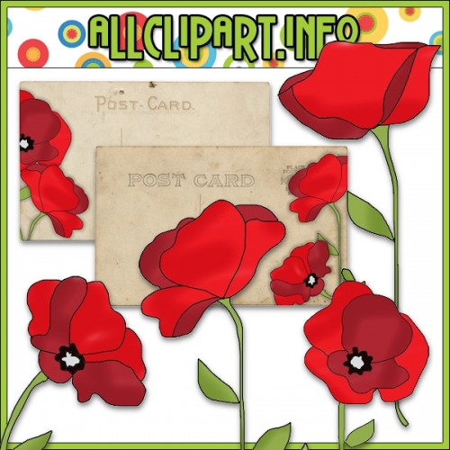 "Pretty Poppies Clip Art & Post Card Card Fronts - alt=""Pretty Poppies Clip Art & Post Card Card Fronts - $1.00"" .00"